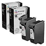 LD Remanufactured Ink Cartridge Replacement for HP 15 C6615DN (Black, 2-Pack)