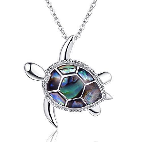 Kette Schildkröte Halskette Damen Kette Opal 925 Sterling Silber Zirkonia Anhänger Schmuck Geschenk für Damen (D-Schildkröte Halskette)