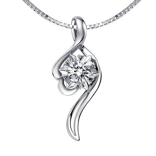 Daesar Echte Damen Halskette Platin 900 Blätter Anhänger Halskette Silber Kette Länge 45cm