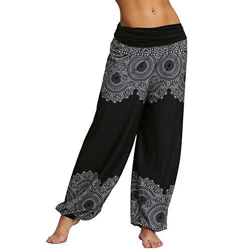 Nuofengkudu Mujeres Hippies Pantalones Largos Cintura Alta Boho Flores Impreso Suelto Yoga Pants Verano Playa Fiesta Tailandeses Harem Pantalón (Negro C,XL)