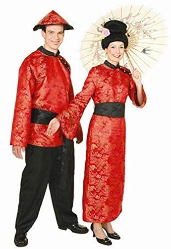 narrenkiste O9071-46 rot-schwarz Damen Chinesin Chinesen Kostüm-Kleid-Kimono Gr.46