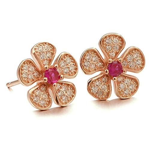 Women Earrings Silver Plated Flowers Shape Ear Studs Women's Earrings Novelty Jewelry Stud Earring/Silver,Colour Name:Silver Bracelets Earrings Rings Necklaces (Color : Rose Gold)