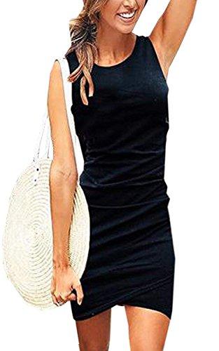 Minetom Damen Enges Kleid Sommerkleid Rundhals Ärmellos Kleid Bodycon Unregelmäßig Minikleid Abendkleid Ballkleid Sexy Einfarbig Cocktailkleid B Schwarz DE 44