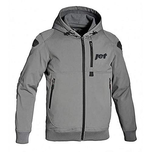 JET Motorcycle Motorbike Protective Jacket Black and Grey Hoody Armoured Soft...