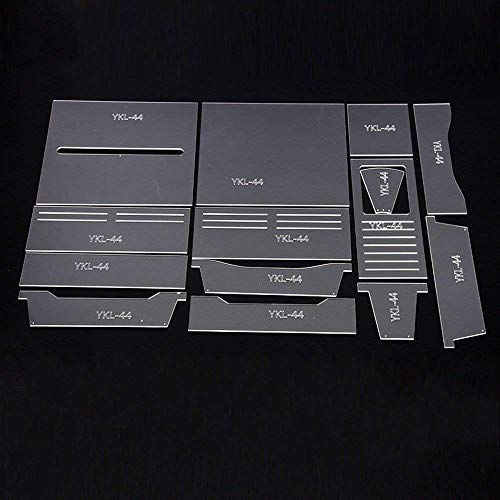 PANINA Plantilla de estarcir para cartera, 14 piezas, acrílico, estilo largo
