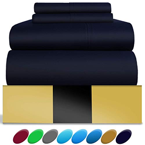 Urban Hut Egyptian Cotton Sheets Set (4 Piece) 800 Thread Count - Bedspread Deep Pocket Premium Bedding Set, Luxury Bed Sheets for Hotel Collection Soft Sateen Weave (King, Navy Blue)