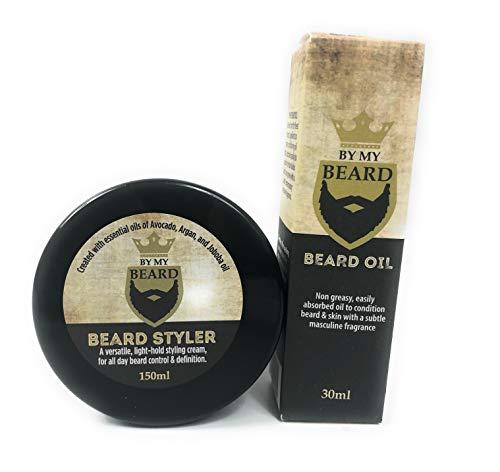 By My Beard Oil 30 ml y crema para barba, 150 ml, natural, vegano.