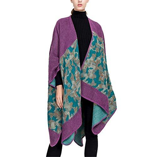YzDnF Mujeres Manta Caliente de la Bufanda El otoño y el Invierno Street Style Camuflaje patrón de Split cálido Chal Bufanda señoras de Regalo (Color : Purple, Size : 160x130cm)