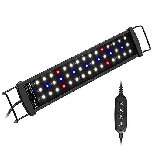NICREW SilmLED Lampada LED Acquario con Timer Impermeabile, LED Acquario con Luce a Spettro Completo Regolabili per Piante Acquatiche, 28-42 cm, 9 W, 600 Lumen