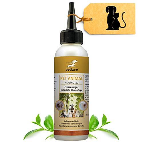 Peticare Ohren-Reiniger für Hunde & Katzen - natürliche Ohren-Tropfen zur Ohren-Pflege, reinigt gründlich, gegen unangenehmen Geruch, löst Verkrustung, 100% natürlich - petAnimal Health 2110