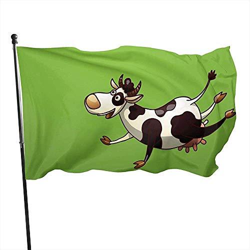 wallxxj Fahne Kühe Lustige Garten Fahnen Bunte Lebendige Yard Flagge Standard Outdoor-Druck Willkommen 150X90Cm Urlaub Yard Banner