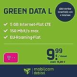 mobilcom-debitel Green Data L im Telekom-Netz (9,99 EUR monatlich, 24 Monate Laufzeit, 5 GB Internet-Flat, LTE mit max. 150 MBit/s, EU-Roaming-Flat, Triple-SIM-Karten)