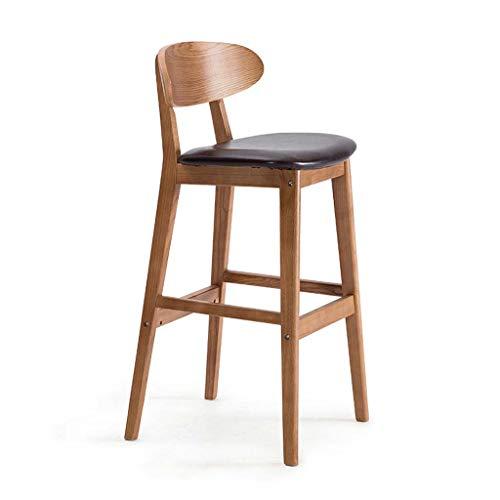 Houten barkruk Barkruk Hoge kruk met rugleuning Stoel Eetkamerstoel Bureaustoel Kantoor Ontbijtstoel Retro barkruk (Color : Dark brown)