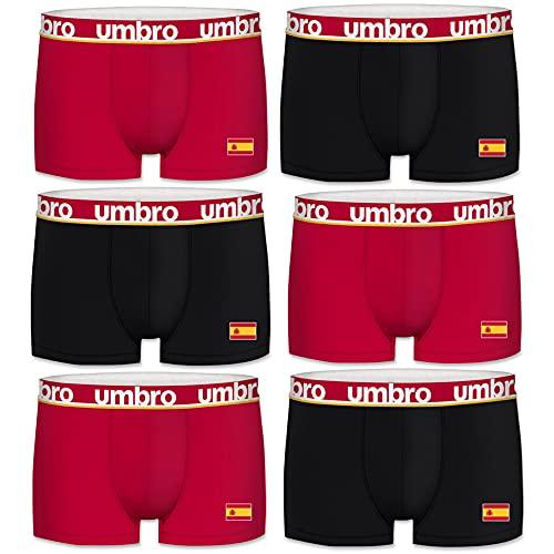 Umbro 2021 Pack 6 Calzoncillo Boxer Eurocopa Fútbol 2021 España para Hombre 100% algodón, Pack 6 PK2612, L