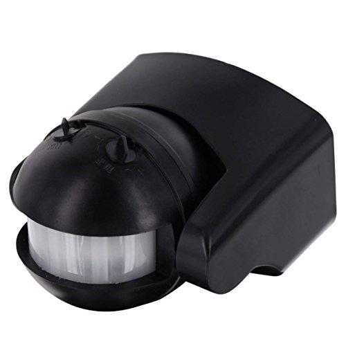 Infrarood opbouw bewegingsmelder IP44 180° - met schemeringssensor - draaibaar - geschikt voor LED zwart