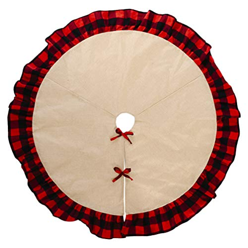 NUOBESTY 48 Inch Christmas Tree Skirt Burlap Linen Plaid Tree Skirt Xmas Tree Bottom Cover Holiday Xmas Holiday Decor