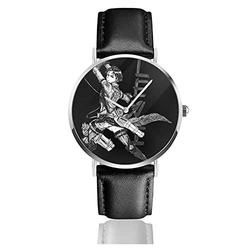 Attack On Titan Levi Ackerman Relojes Reloj de Cuero de Cuarzo con Correa de Cuero Negro para Hombre, Mujer, colección Joven, Casual de Negocios