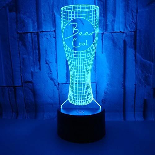 3D LED Lampe D'illusion Optique Veilleuse Chope À Biere Lumière De Nuit Avec Câble USB Et 7 Couleurs Décoration Pour Enfant Chambre Chevet Table De Bébé Enfant Cadeau De Noël Fête Anniversaire
