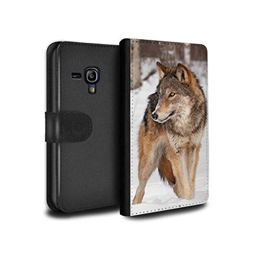 Hülle Für Samsung Galaxy S3 Mini Wilde Tiere Wolf Design PU Leder Tasche Brieftasche Schutz Handyhülle Flip Case