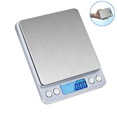 KINOEE Digital Kitchen Scale, 3000g/ 0.1g Mini Pocket Jewelry Scale, Electric Scale for Kitchen, 2 Trays, 6 Units, Auto Off, Tare, PCS Function, Stainless Steel, (Note: No Batteries Included)