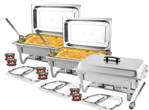 TigerChef Chafing Dish Buffet Set - Chaffing Dishes Stainless Steel - 3 Sets of Chafers and Buffet Warmer Sets: 6 Chafing Gels, 3 Slotted Spoons and Foldable Frame - Food Warmers for Parties Buffets
