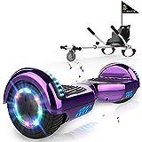 MARKBOARD Hoverboards Go Kart, Scooter eléctrico autoequilibrado de 6.5', con Luces LED y Altavoz Bluetooth,...