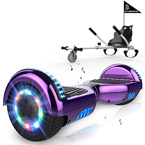 MARKBOARD Hoverboards Go Kart, Scooter eléctrico autoequilibrado de 6.5', con Luces LED y Altavoz Bluetooth, hoverboards con Motor de 2x350W, con Asiento de Kart para niños y Adolescentes