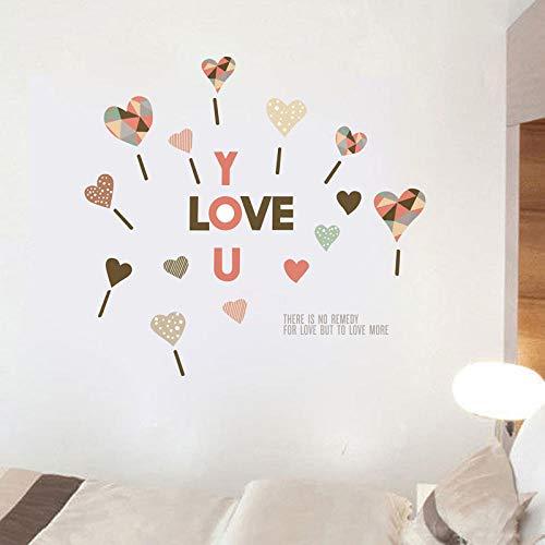 ZJXSNEH Valentinstag Kreativ Liebe Dich Farbe Liebesmuster Wandaufkleber Selbstklebendes Papier für Wohnzimmer und Schlafzimmer 25X50CM
