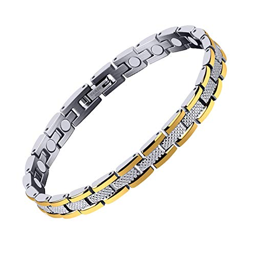 ZHHAOXINJE Minimalist Titan Stahl Armband, Herren Frauen Gesunde Magnetisch Armbänder Schmerzlinderung bei Arthritis Therapie Magnete Armreifen Geschenk für Männer Damen, Silvery
