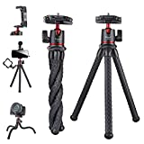 Camera Tripod,Famall Flexible Tripod Stand for Phone with Cold Shoe Phone Mount for iPhone Canon Nikon Sony Cameras