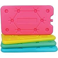 com-four® 4X Paquete de Hielo Extra Plano - Ahorra Espacio y es Ideal para la Nevera y la Bolsa de frío - Elemento refrigerante Grande (4 Piezas - Medio)