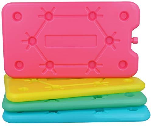 com-four® 4X Extra flaches Kühlakku - Platzsparend und ideal für Kühlbox und Kühltasche - Großes Kühlelement (4 Stück - mittel)