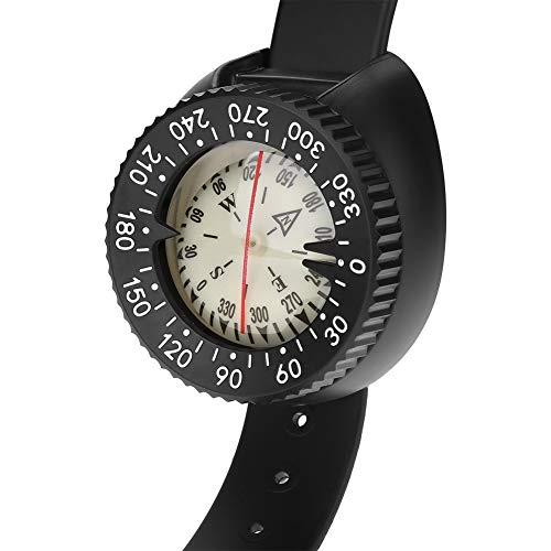 Xxw Brújula Brújula al Aire Libre Brújula Profesional Buceo Impermeable Navegador Reloj Digital Brújula de Buceo for Nadar bajo el Agua Aguja Magnética (Color : Black)