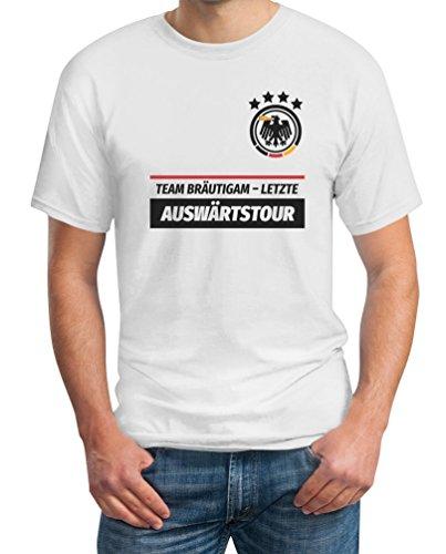 JGA Team Bruidegom laatste uitwedstrijd gewenste datum op achterkant combi T-shirt