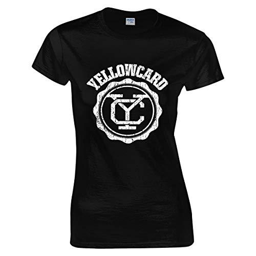Damen Yellowcard Logo Tee Shirts Sommer Bekleidung T Shirt Kurzärmlig Rundhalsausschnitt Black Medium T-Shirt Für Frauen