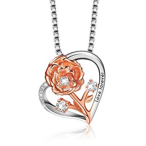 Halsketten für Frauen 925 Silber Kette Damen Schmuck Blume Anhänger Kette mit Geschenkbox,ldeal Geschenk für Mama Valentinstag Geburtstag