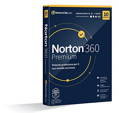 Norton 360 Premium 2021, Antivirus per 10 Dispositivi, Licenza di 1 anno, Secure VPN e Password Manager, PC, Mac, tablet e smartphone