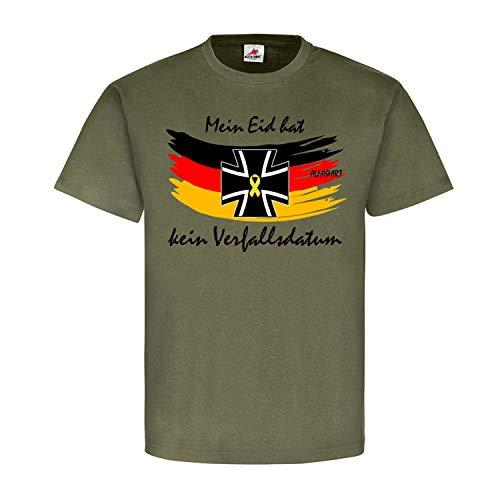 Mein BW Eid Bundeswehr Solidarität hat kein Verfallsdatum Reservist Soldat Fahne Stolz T-Shirt #20469, Größe:L, Farbe:Oliv