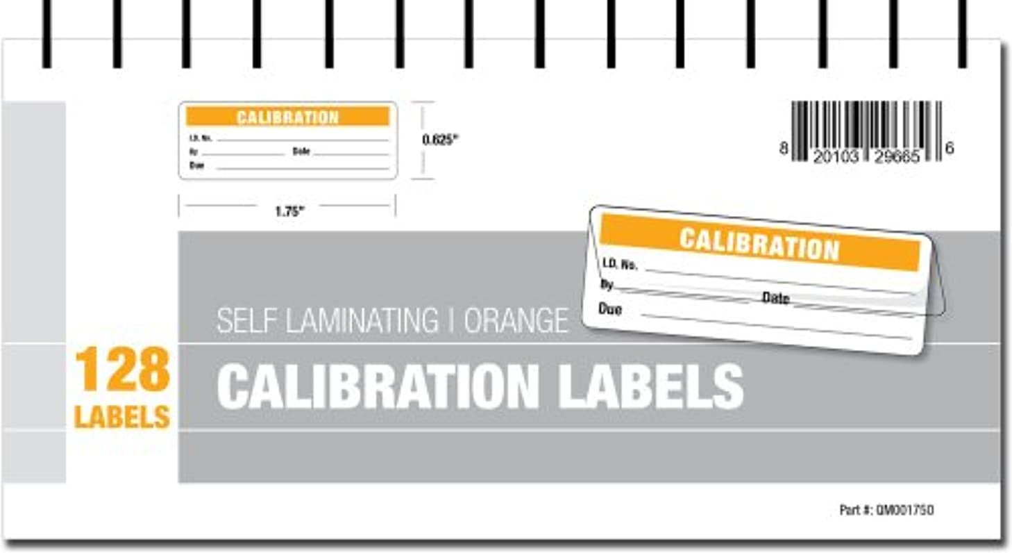Calibration Labels - Self Laminating with Spiral Bound Cover (Orange)
