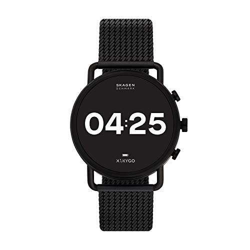 Skagen Men Falster 3 Stainless Steel Mesh Touchscreen Smart Watch, Color Black (Model: SKT5207)