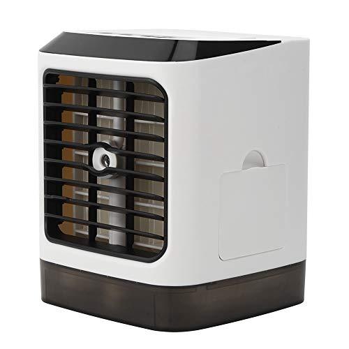 Fockety Ventilador Enfriador de Aire, Mini Ventilador de Aire Acondicionado con Carga USB, con luz LED para el hogar, Dormitorio, Sala de Estar, Oficina
