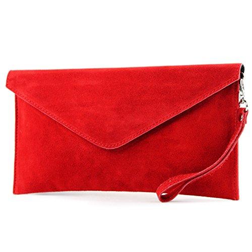 modamoda de - T106 - Bolso de piel de ante italiano, color rojo