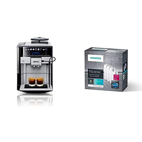Siemens EQ.6 plus s700 Kaffeevollautomat TE657503DE, automatische Reinigung, Direktwahl, zwei Tassen gleichzeitig, 1.500 Watt, edelstahl & TZ70033 Brita Intenza Wasserfilter, 3 Stück, weiß