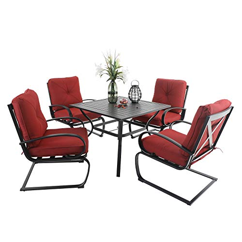 PHI VILLA 5 Pcs Metal Patio Dining Table and Chair Set, 4 pcs C-Spring Relaxing Cushioned Sofa Chairs & 1 Sqaure 37'x 37' Outdoor Table with 1.57' Umbrella Hole, Red Cushion