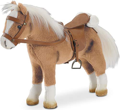 Götz 3401926 Haflinger Fritz Pferde-Puppe (Stockmaß 27 cm) - 33 cm hohes, biegsames Plüschpferd für Stehpuppen - mit Sattel, Zaumzeug und Picknickdecke