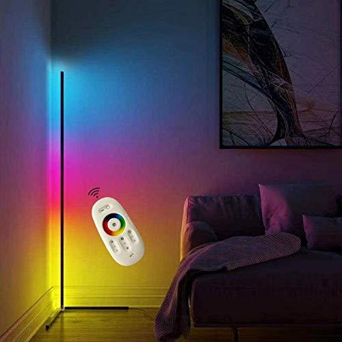 LED Stehlampe Ecke Dekoration 20W Wohnzimmer Moderne Vertikales Leselicht Dimmbar (16 Millionen Farben+Remote Control) Für Schlafzimmer, Büro Energiesparende Tageslichtlampe,Schwarz