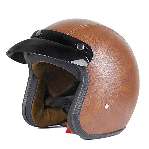 Mangen Jethelm Lederhelm Motorradhelm Motoradhelme Mopedhelm Vespa Helm DOT zertifiziert (Braun, S)