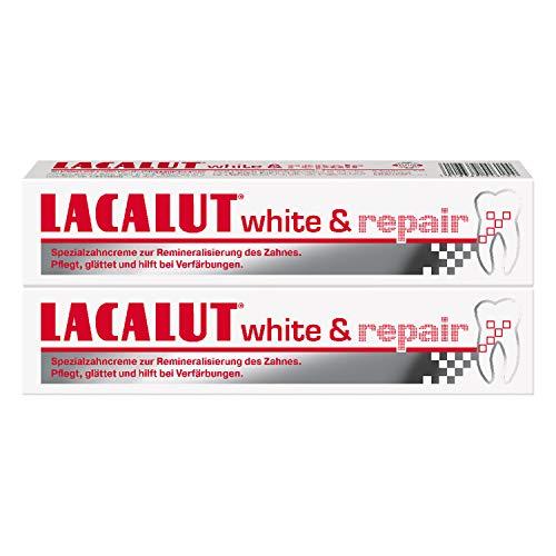 LACALUT WHITE & REPAIR ZAHNCREME, 75ml Zahnpasta zum Aufhellen der Zähne, Straffung und Festigung des Zahnfleischs, Zahncreme für weiße Zähne, 2 x 75ml