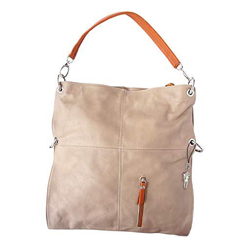 Florence Hobo Bag Echt-Leder Tasche Damen Umhängetasche Schultertasche Beuteltasche helltaupe braun tan 37x6x40 inklusive Feenanhänger D1OTF102C Leder Tasche von Florence für die Frau