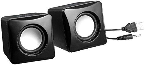 auvisio Lautsprecher Klinke: Stereo-Aktiv-Lautsprecher im Cube-Design, USB-Stromanschluss, 8 Watt (Lautsprecher mit Klinkenstecker)